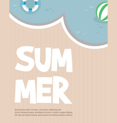 hello summer typography inscription with parasol vector image