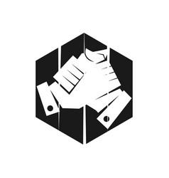 Hexagonal commitment teamwork together black logo vector