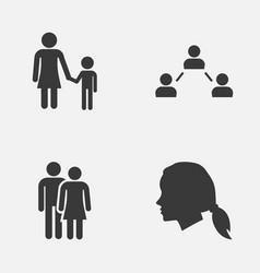 Human icons set collection of gentlewoman head vector