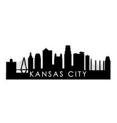 Kansas city skyline silhouette black kansas city vector