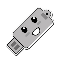 kawaii usb drive icon vector image