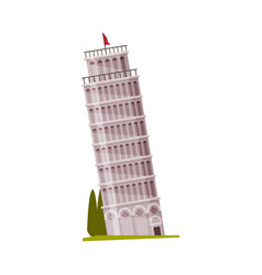 leaning tower pisa as famous city landmark and vector image