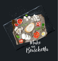 Make your bruschetta all ingredients are ready vector