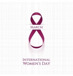 March 8 Womens Day realistic pink festive Ribbon vector