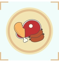 Meat products icon vector