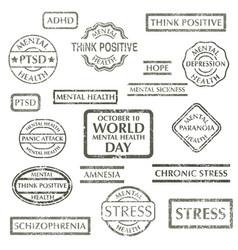 Mental disorder stamps set vector
