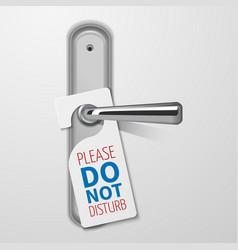 Metallic door handle with do not disturb white vector