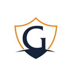 Modern shield letter g vector