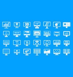 monitor icon blue set vector image