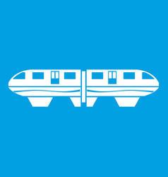 monorail train icon white vector image