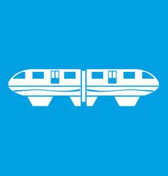 Monorail train icon white vector