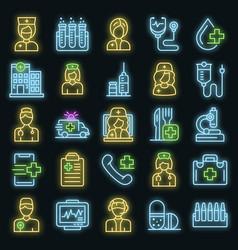 nurse icons set neon vector image