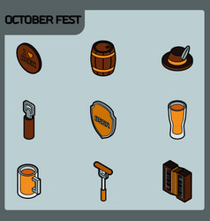 octoberfest color outline isometric icons vector image