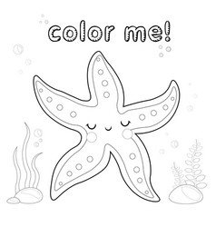 outline starfish coloring page black and white vector image