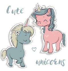 pink and blue cartoon unicorns vector image