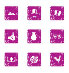 Pleasant evening icons set grunge style vector