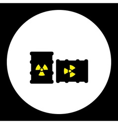 Radioactive barrels yellow and black simple icon vector