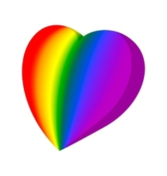 Rainbow heart cartoon icon vector image