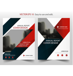 Red blue triangle abstract annual report brochure vector