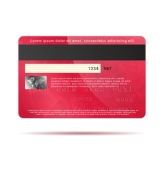 Red credit card back icon realistic style vector