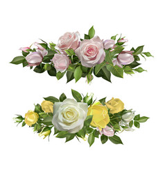 rose flowers realistic borders flower decorative vector image