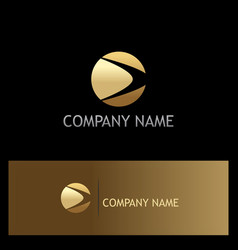Round loop gold company logo vector