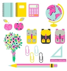 School supplies clip art stationery objects vector image
