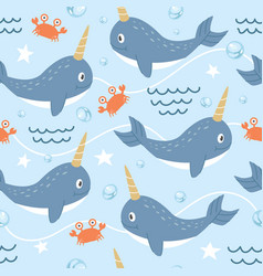 Seamless pattern cute narwhal vector