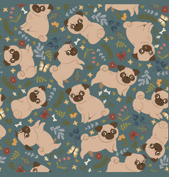 seamless pattern with cute pugs and flowers vector image