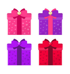 set of colorful gift boxes with bows romantic vector image