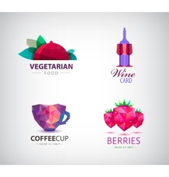 Set of food and drink logos icons vector