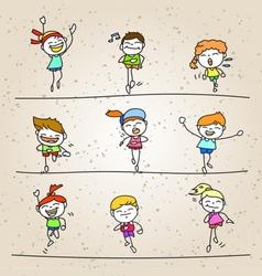 Set of hand drawing cartoon happy kids running vector