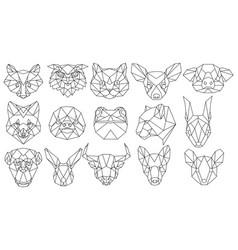 set polygonal animal portraits collection of vector image