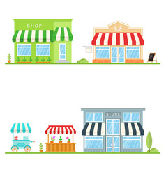 set store shop street store cart and truck vector image