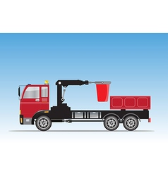 Side view of Crane truck with Bucket vector