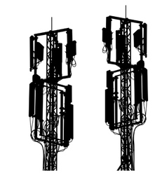 Silhouette mast antenna mobile communications vector image