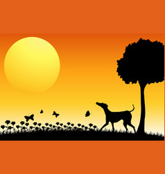 Silhouette scene with dog and butterflies vector