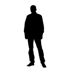 silhouette standing man front view vector image