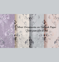 silver ornament damask paper pattern vector image