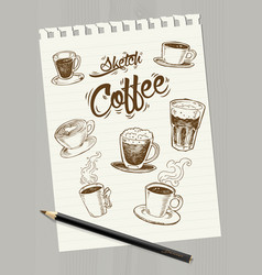 sketch coffee on paper vector image
