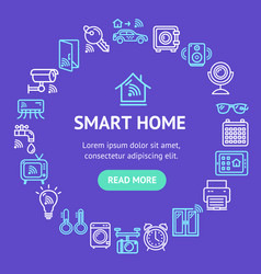 Smart home signs design round design template line vector