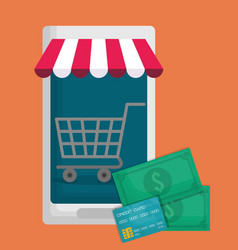 Smartphone and shopping related icons vector