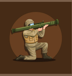 soldier crouch holding anti tank rocket launcher vector image