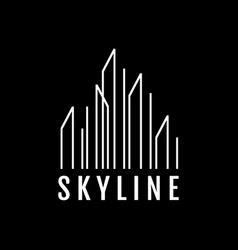 Stylish line buildings skyline logo design symbol vector
