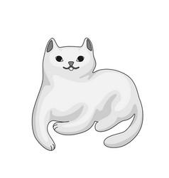Stylized cartoon white cat vector
