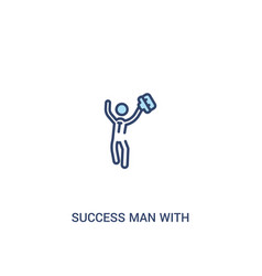 Success man with suitcase concept 2 colored icon vector