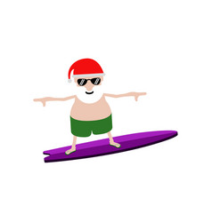 summer santa claus on a surfboard vector image
