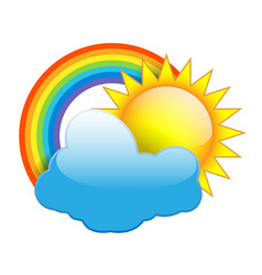 sun clouds and rainbow isolated on white vector image