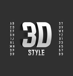 three-dimensional style font design 3d alphabet vector image