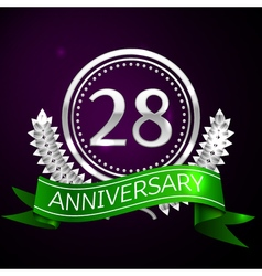 Twenty eight years anniversary celebration with vector image